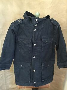 38f611e73f91 GAP Kids Cotton Canvas Lined Barn Coat JACKET S 6-7 NAVY BLUE HOODED ...