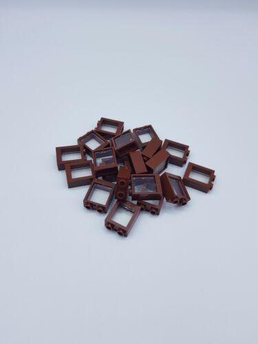 LEGO LOT 20 X FENETRE REDDISH BROWN  1X2X2  REF 60592 20 X VITRE 60601 *NEUF*
