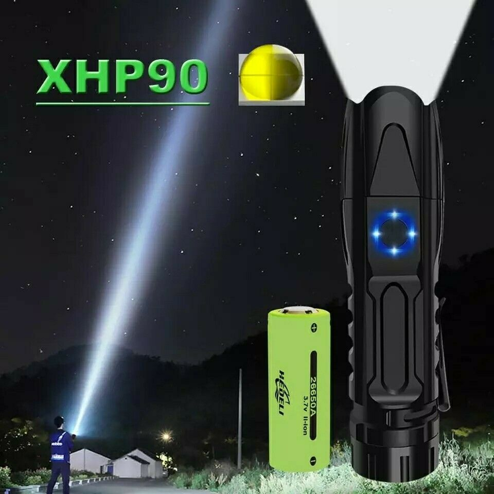 HIGH lumen xhp90 most powerful flashlight rechargeable mini led hunting hand...