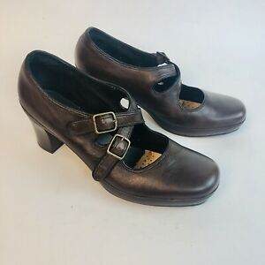 Clarks-Artisan-Active-Air-Brown-leather-upper-high-heels-Maryjanes-Size-9