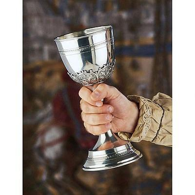 """11"""" Solid Italian Pewter 30oz Grand Size Medieval Royalty Banquet Chalice Goblet"""