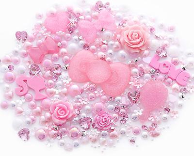 Pink Princess Sparkle Cabochon Rhinestone Pearl Set Kit DIY Decoden Kawaii Craft