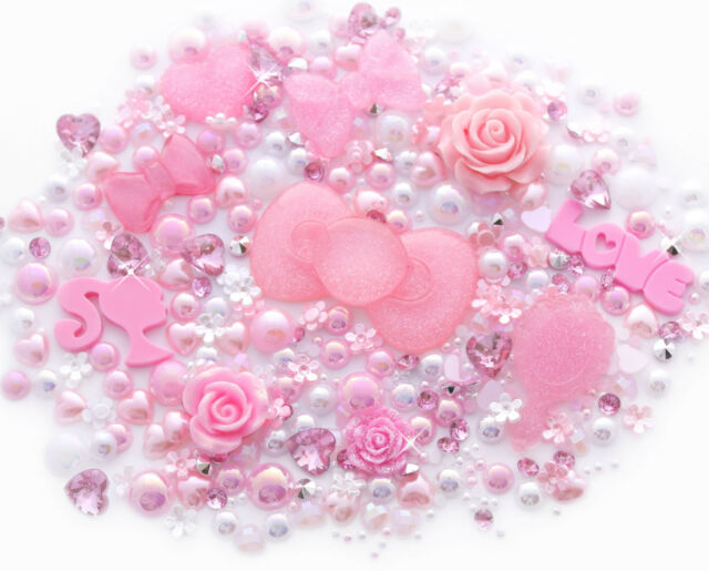 Pink Princess Sparkle Cabochon Rhinestone Pearl Set Kit DIY Decoden Kawaii Craft