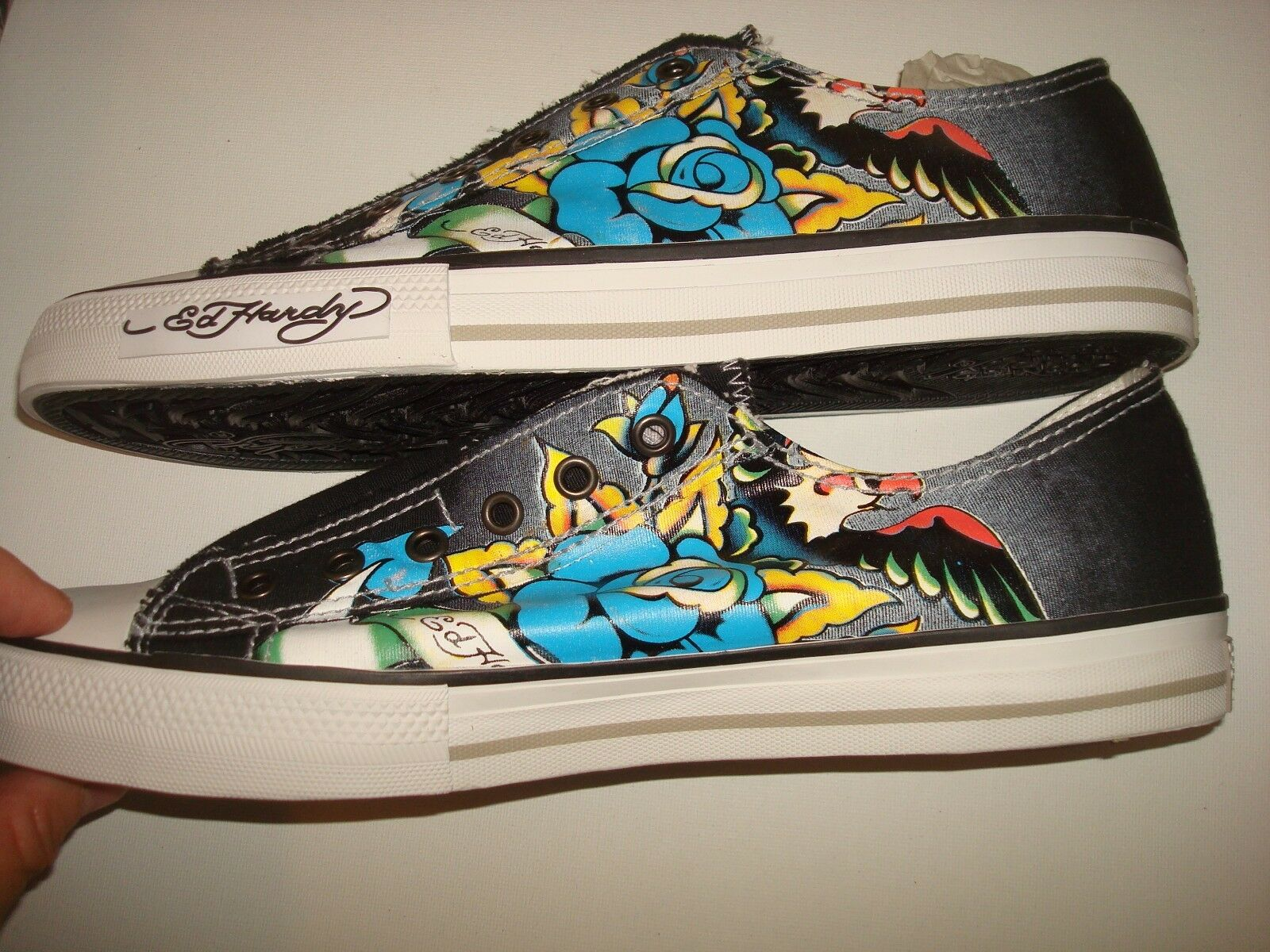 Uomo Ed Hardy ANNIVERSARY nero Lowrise Slip-On scarpe scarpe scarpe scarpe da ginnastica Sz 11 NEW IN BOX e49138