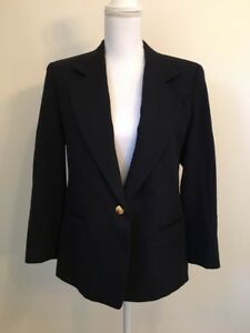 Vintage Austin Reed Womens Blazer Jacket 100 Worsted Wool Usa Navy Blue Sz 10p Ebay