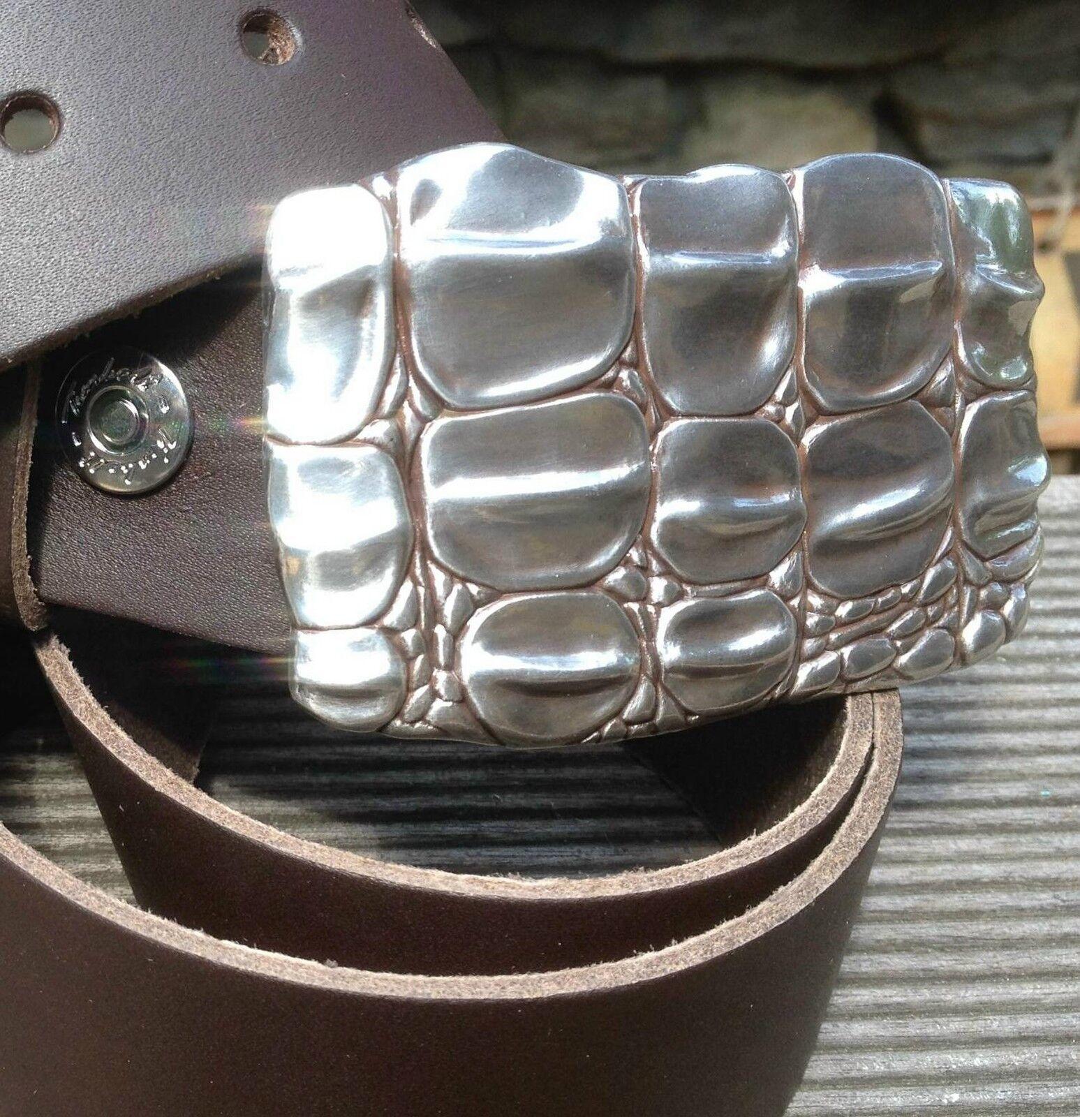 119cm Leder Gürtel + Gürtel SCHNALLE Buckle Krokodil Schließe