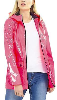 Energisch New Womens Brave Soul Neon Pink High Shine Hooded Mac Raincoat Jacket Eine Hohe Bewunderung Gewinnen