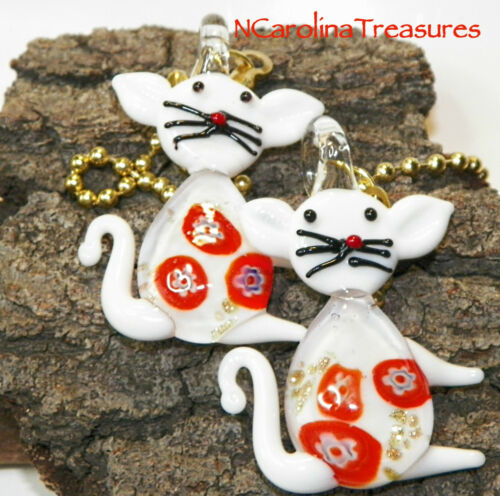 PURRTY GLASS CEILING FAN SWITCH PULLS WHITE CAT KITTY FLORAL CATS LG PAIR  A874