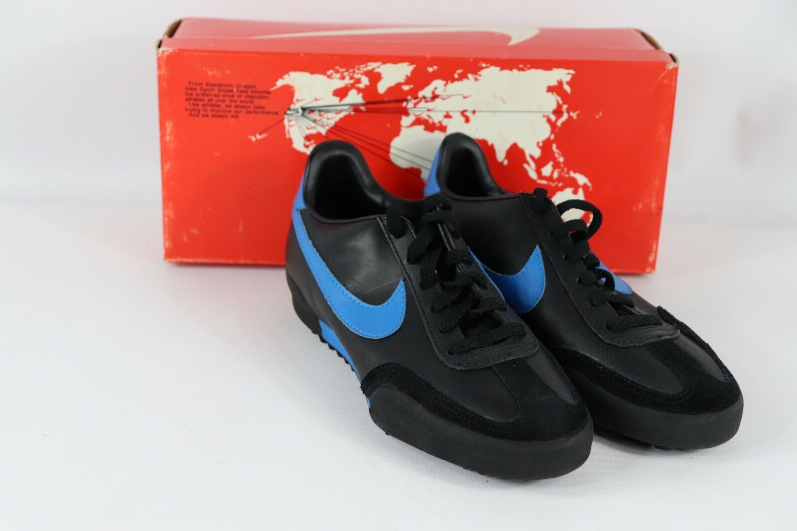 Vtg 80s New Nike Mens 7 Genoa Indoor Turf Soccer shoes Trainers Black bluee