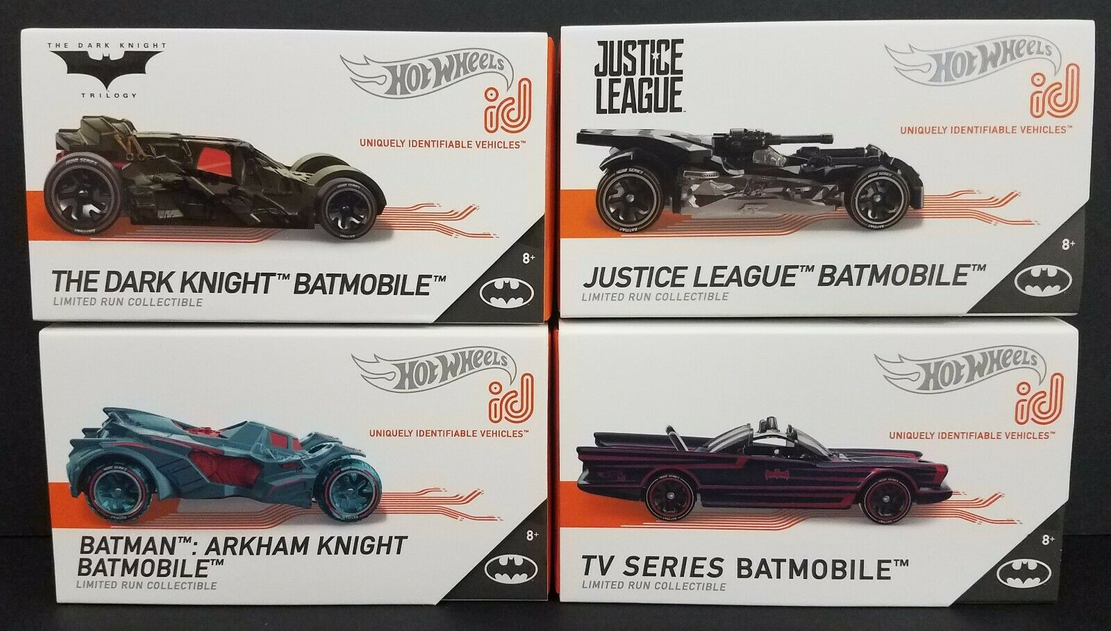 Hot Wheels ID Batmobile Lot of 4 -TV Series, Dark Knight, Arkham, Justice League