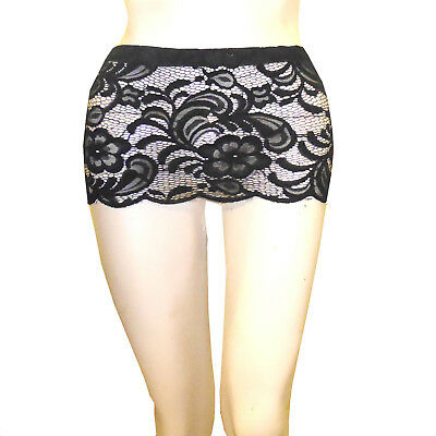 LADIES BLACK LACE 8 INCH 20 CMS FITTED BODYCON MICRO MINI SKIRT SIZE 6 TO 12