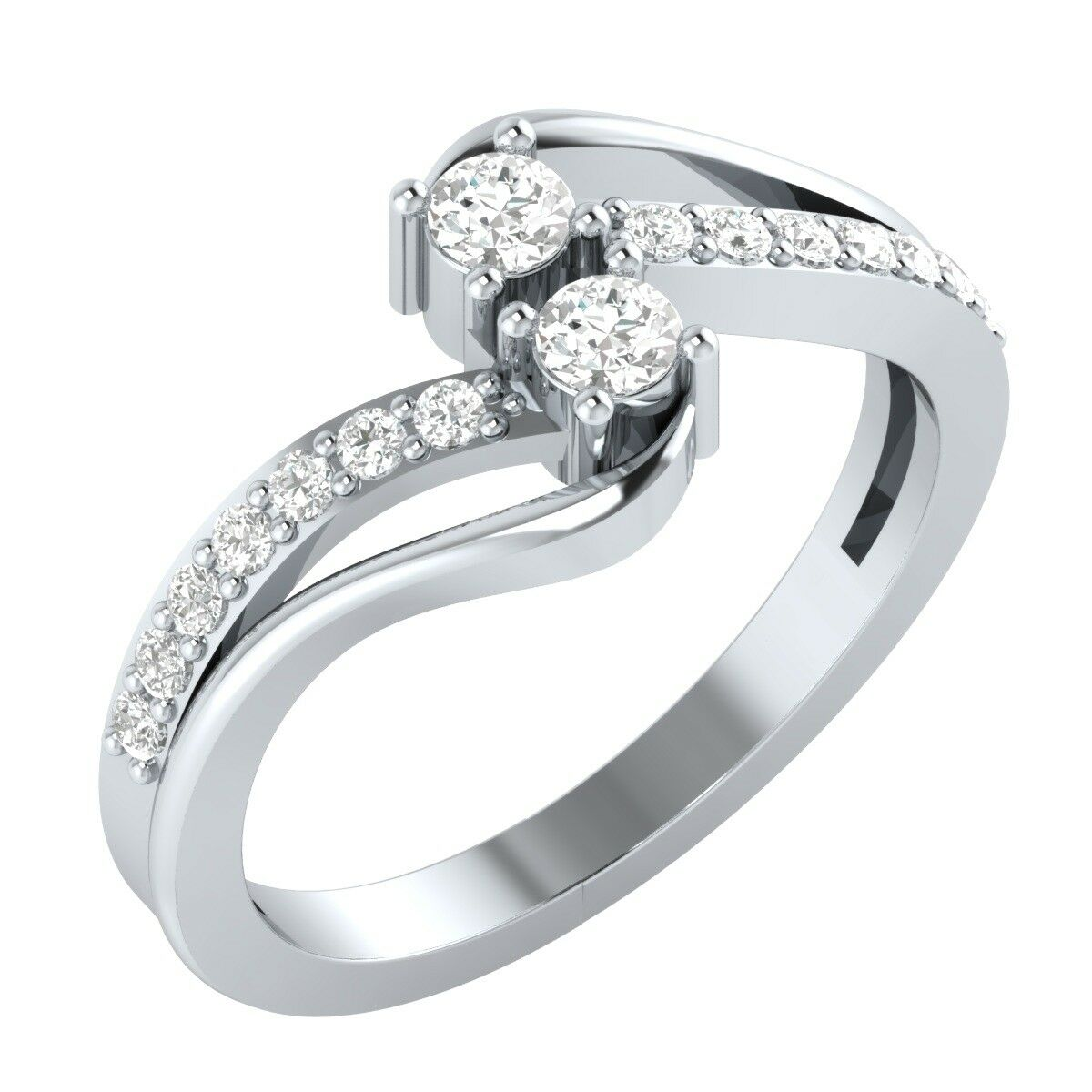 Forever Us Two Stone Round Diamond 0.65 Ct Solitaire Ring 14k White gold GP Gift
