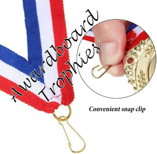 RED WHITE /& BLUE MEDAL RIBBONS LANYARDS /& CLIP 22mm WOVEN PACKS 10//25//50//100