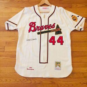 Hank Aaron Milwaukee Braves 1957 Mitchell & Ness Autographed JSA COA
