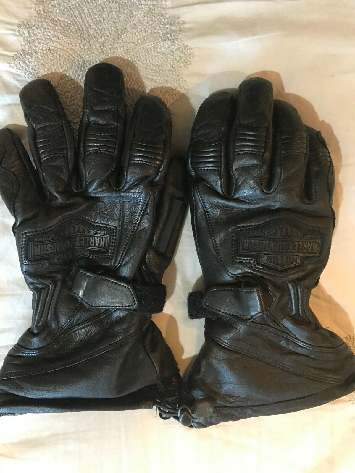 Harley Davidson Leather Cold Weather Gauntlet Gloves sz L