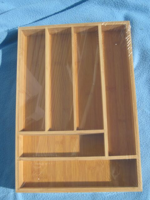 NEW Drawer Organizer Bamboo Large 6 Slot Silverware Flatware Tray 17 Inch
