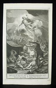 Antique-Biblical-Etching-L-039-Angel-Punch-L-039-Armmee-Asyriens-1728-Thomassin-B-Picart