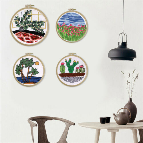 Plant Cross Stitch Needlework Kits Embroidery Starter Kit For Beginner With Hoop