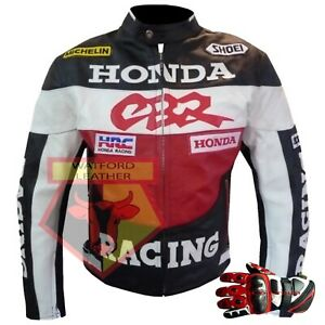 HONDA-CBR-RED-MOTORBIKE-MOTORCYCLE-COWHIDE-LEATHER-JACKET-AND-LEATHER-GLOVES