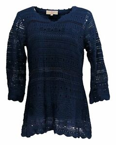 Laurie-Felt-Women-039-s-Top-Sz-M-Split-V-Neck-3-4-Sleeve-Crochet-Tunic-Blue-A292620