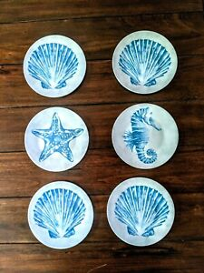 Coastal-Melamine-Plates-Set-of-6-Appetizer-Dessert-6-034-Starfish-Scallop-Shells