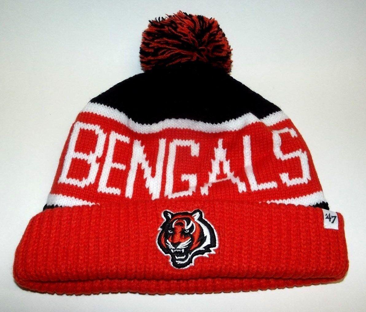 NEW47 Brand NFL Cincinnati Bengals Knit Cuffed POM Calgary Calgary Calgary Beanie Skull Cap 6caaaa