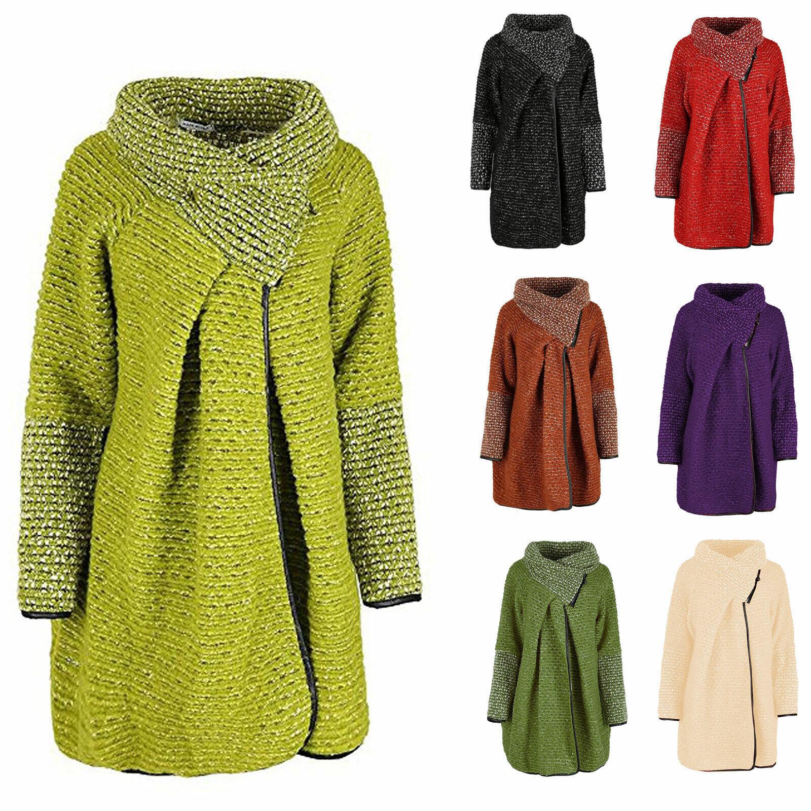 Womens Italian Wool Spot Wool Zip Collar Cardigan Coat Coatigan Plusize