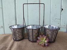 Vintage Inspired Chicken Wire 3 Basket Caddy Galvanized Tin Vases Utensil Holder