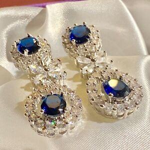 White-Gold-Statement-Dangle-Earrings-Sim-Diamonds-amp-Sapphire-37x16mm-GIFT-BOXED
