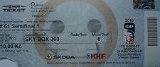 TICKET SKY BOX Hockey su ghiaccio WM 16.5.2015 REPUBBLICA CECA-Canada a Praga