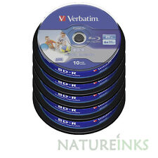 50 Verbatim 43804 White Printable Bluray 25GB 6x BD-R SL HTL Blank Discs Spindle