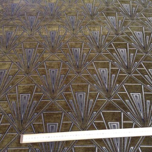 Gatsby Art Deco Chenille Velvet Fibre Naturelle  Curtain//Upholstery Fabric green