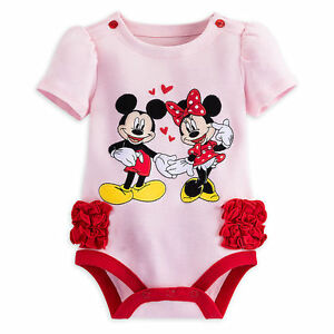 8e1fdbd3af5b Disney Store Minnie   Mickey Mouse Baby Outfit Bodysuit Girls 3 6 9 ...