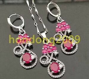 NATURAL-RED-ruby-amp-White-CZ-DANGEL-NECKLACE-amp-EARRINGS-SET