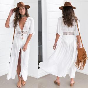900a5c541bf5d Details about NEW Womens Boho Long Kaftan Maxi Dress Bandage Bikini Cover Up  Party Beach Dress