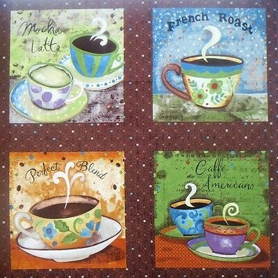 """FOUR Coffee Fabric Blocks 5.75"""" Quilt Squares #68"""