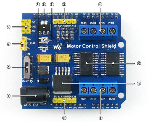 Motor Control Shield Expansion Board with Dual H-bridge Driver L293D