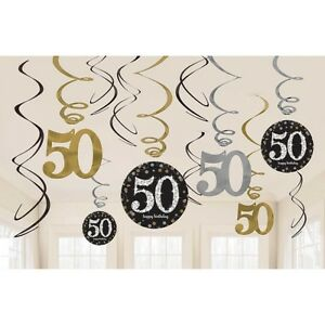 Image Is Loading 12 X 50TH BIRTHDAY PARTY HANGING SWIRLS BLACK