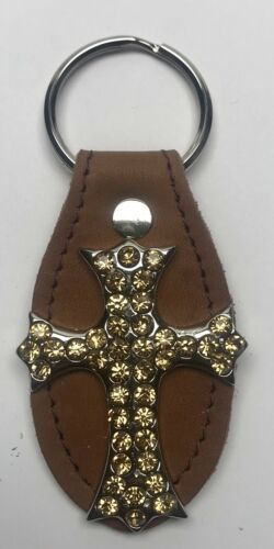 Details about  /Raviani Brown Leather Keyring W//Light Colorado Topaz Crystals Cross MADE IN USA