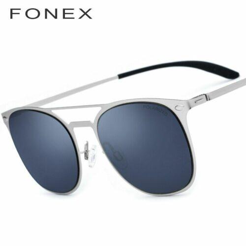 Polarized Sunglasses Men Ultra Light Square Screwless Eye Wear Thin Metal Flat M