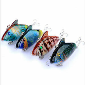 4 x Unpainted 40mm Bibbed Minnow Fishing Lures Crankbaits For Bream Bass Trout