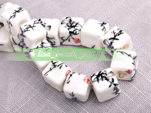 10pcs 10mm Black Bamboo Plum Cube Square Ceramic Porcelain Big Hole Loose Beads