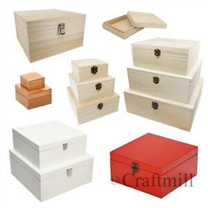 Plain-Wood-Wooden-Square-Hinged-Storage-amp-Christmas-Eve-Boxes-choice-of-sizes