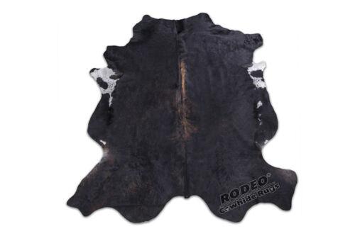 Gorgeous Black w//Brown Streak /& White Edges Cowhide Rug approx 7x6 ft