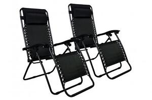 New-Zero-Gravity-Chairs-Case-Of-2-Lounge-Patio-Chairs-Outdoor-Yard-Beach-O85