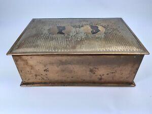 Antique ? Vintage Copper Brass Music Box Keepsake Jewelry Wedding - Working