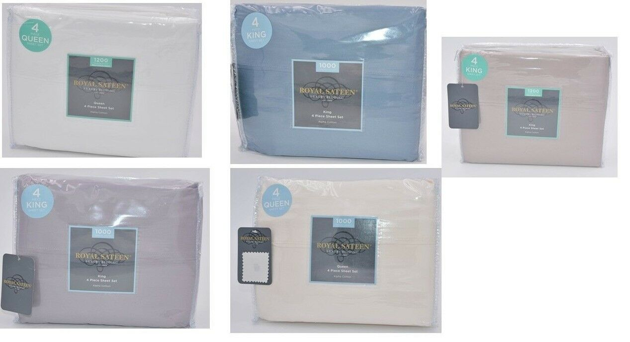 Royal Sateen Alpha Cotton 1000 Tc Luxury Solid 4Pc Sheet Set New