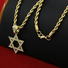 "Mens 14k Gold Plated Hip-Hop Star Of David Pendant 30"" Rope Chain Necklace D686"
