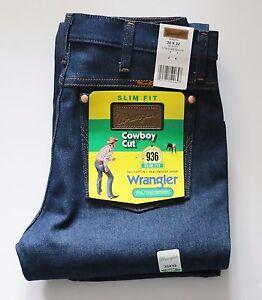 New-Wrangler-936-Cowboy-Cut-Slim-Fit-Jeans-Men-039-s-Sizes-Rigid-Indigo-Twill-Denim