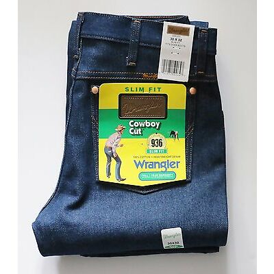 New Wrangler 936 Cowboy Cut Slim Fit Jeans Men's Sizes Rigid Indigo Twill Denim